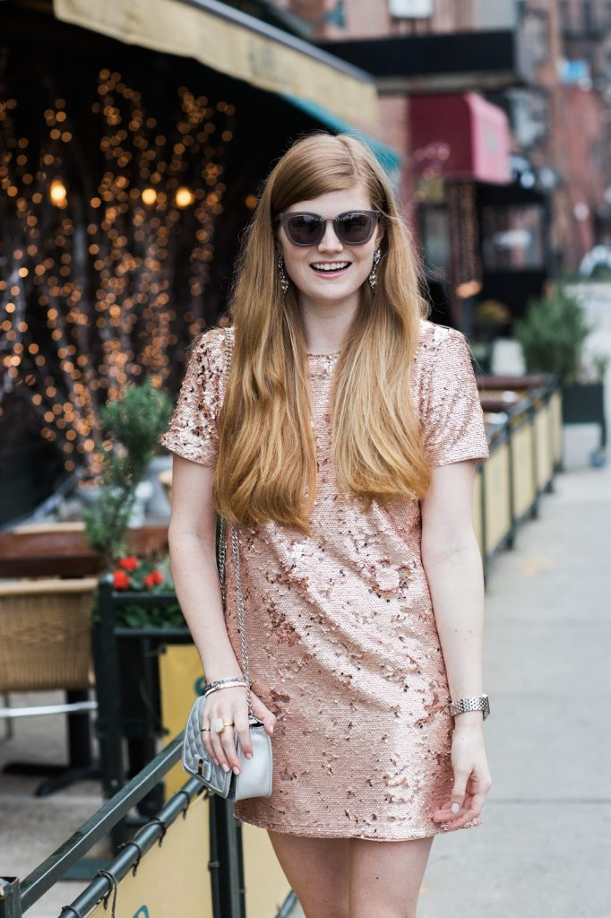 Forever21 Sequin Mini Dress styled by popular London fashion blogger, Mollie Moore