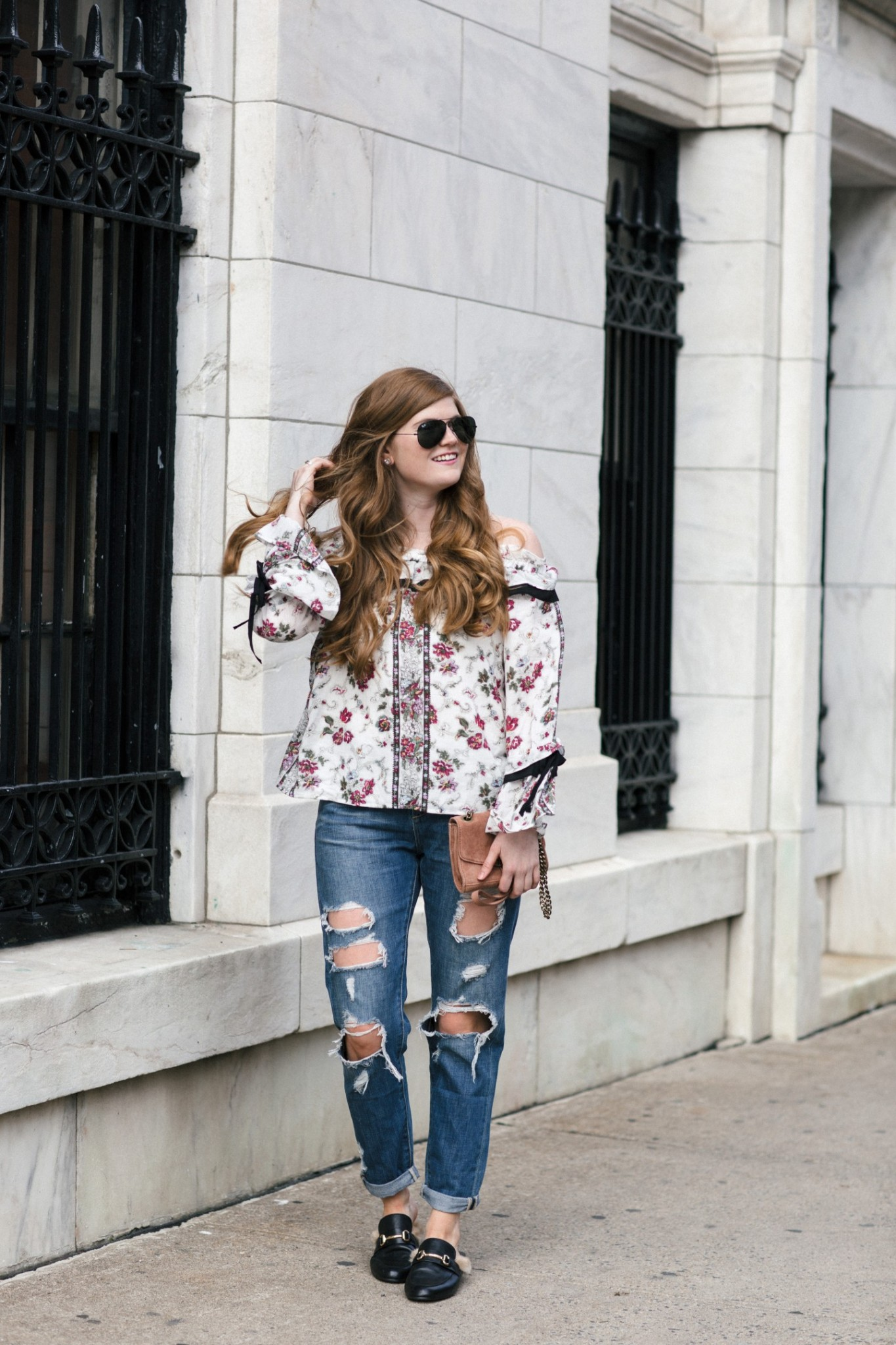 Lifestyle blogger Mollie Sheperdson styles a top from the Club Monaco NYFW Presentation