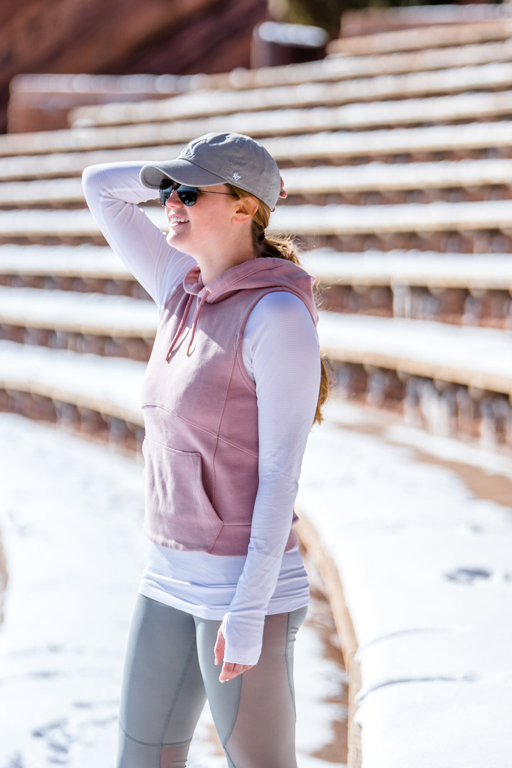 Lifestyle blogger Mollie Sheperdson shares an athleisure look in Red Rocks, CO