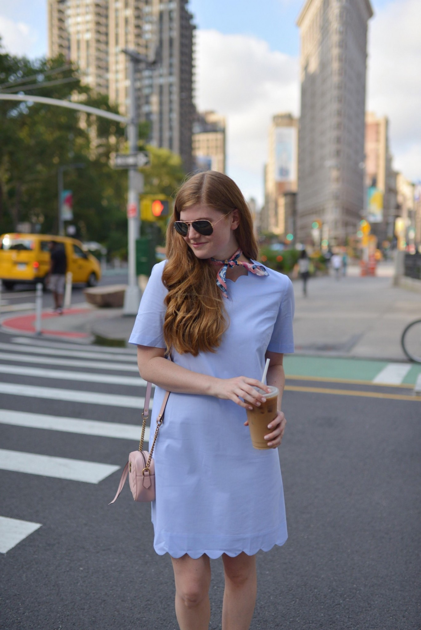 Lifestyle blogger Mollie Sheperdson shares tips on styling an LBD (Little Blue Dress) all year long