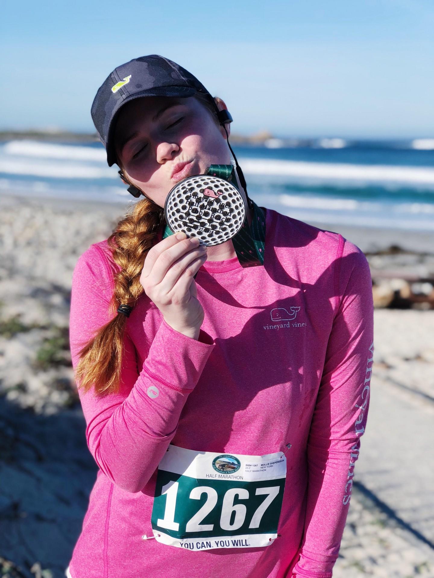 Lifestyle blogger Mollie Moore runs the Vineyard Vines Pebble Beach half marathon