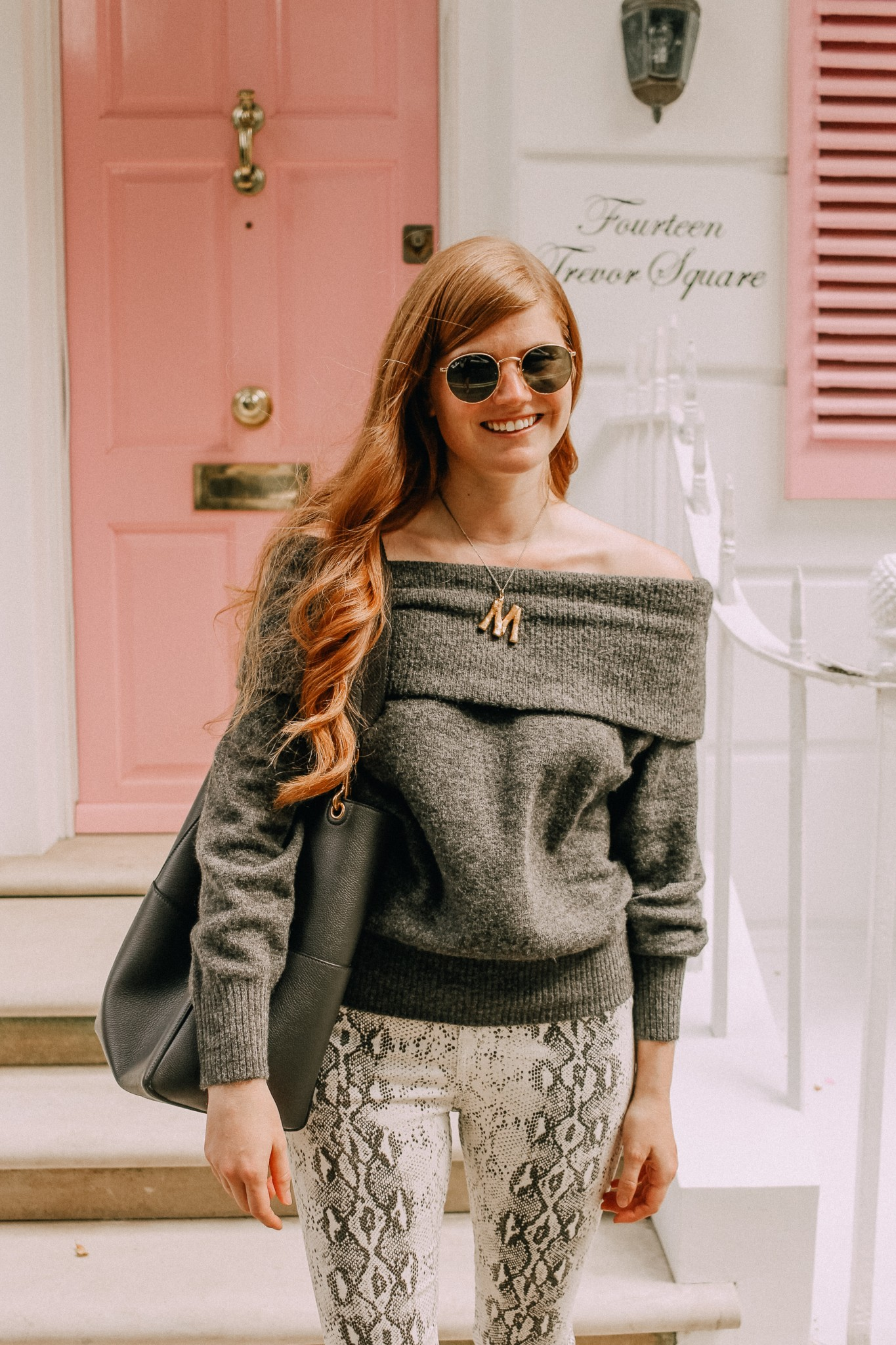 Lifestyle blogger Mollie Moore shares how to wear one of falls top trends: snakeskin | One of the best Fall trends featured by popular London fashion blogger, Mollie Moore: snakeskin pants
