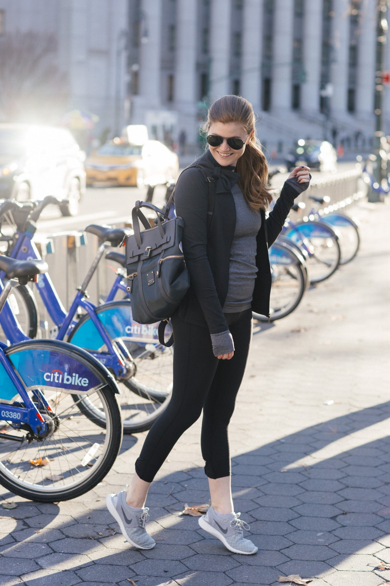 Lifestyle blogger Mollie Sheperdson shares an athleisure look with Kate Spade x Beyond Yoga