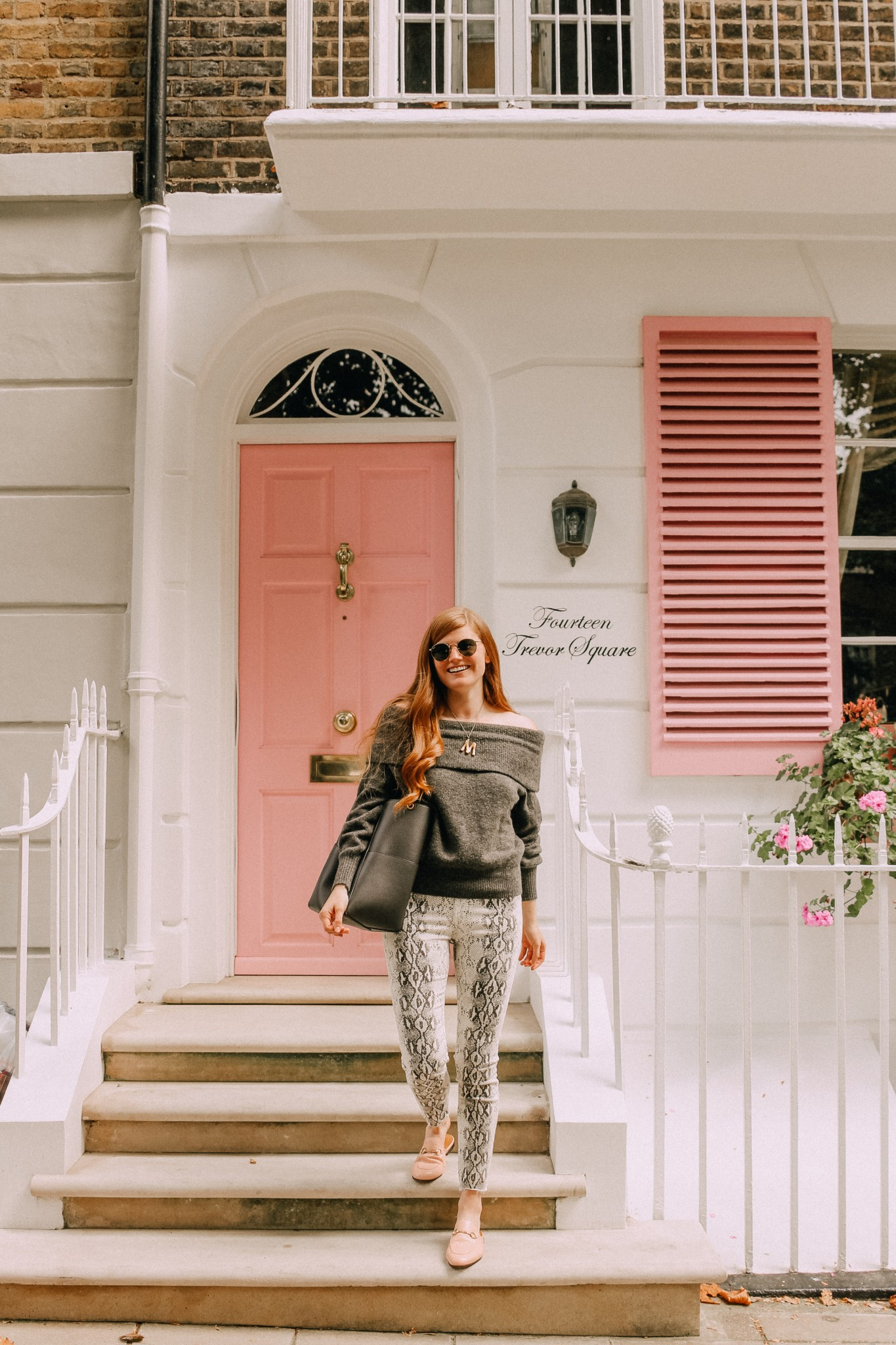 Lifestyle blogger Mollie Moore shares how to wear one of falls top trends: snakeskin| One of the best Fall trends featured by popular London fashion blogger, Mollie Moore: snakeskin pants