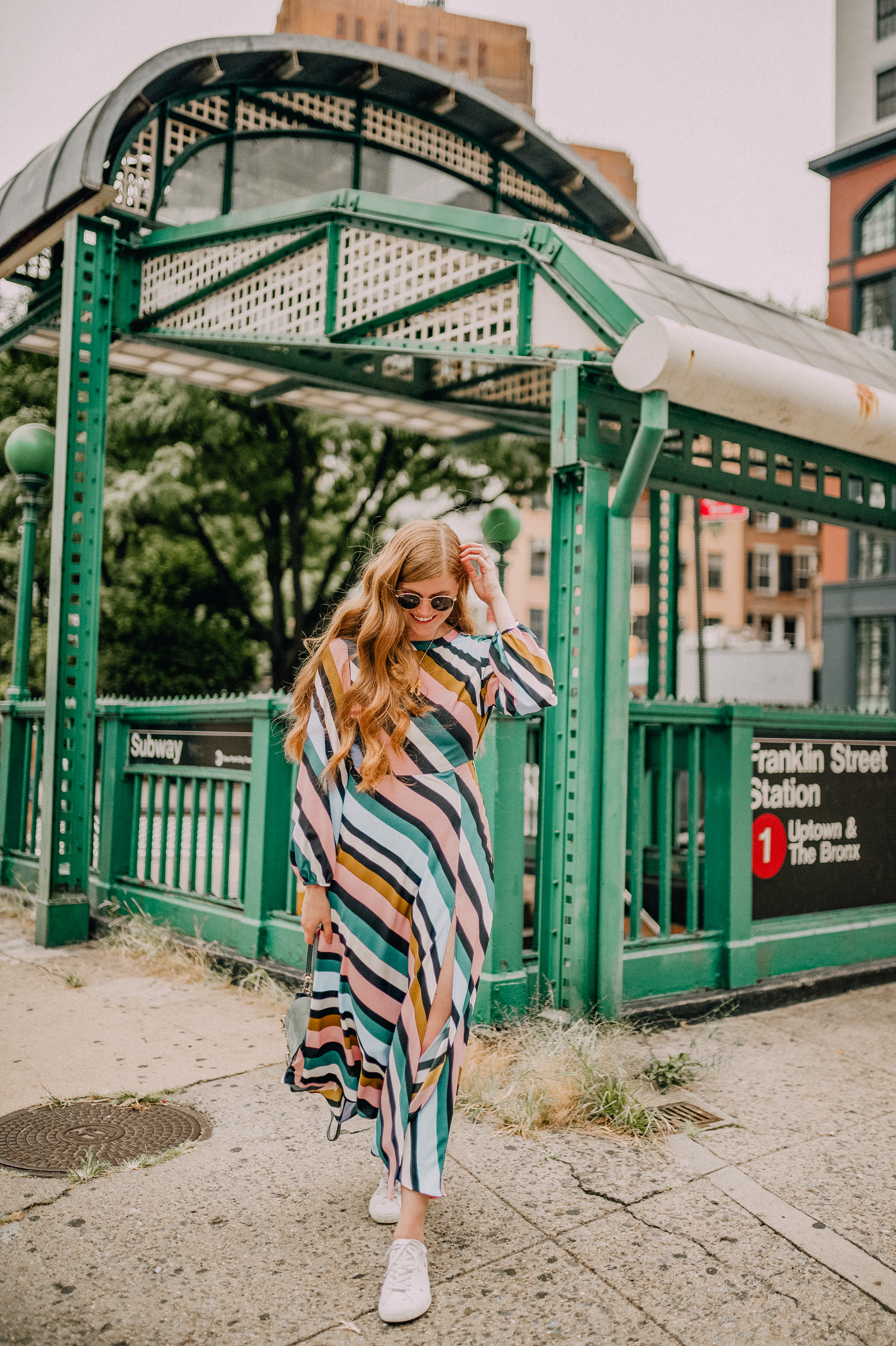 Popular London life and style blogger, Mollie Moore, shares her first New York Fashion Week Look: Topshop open back midi dress
