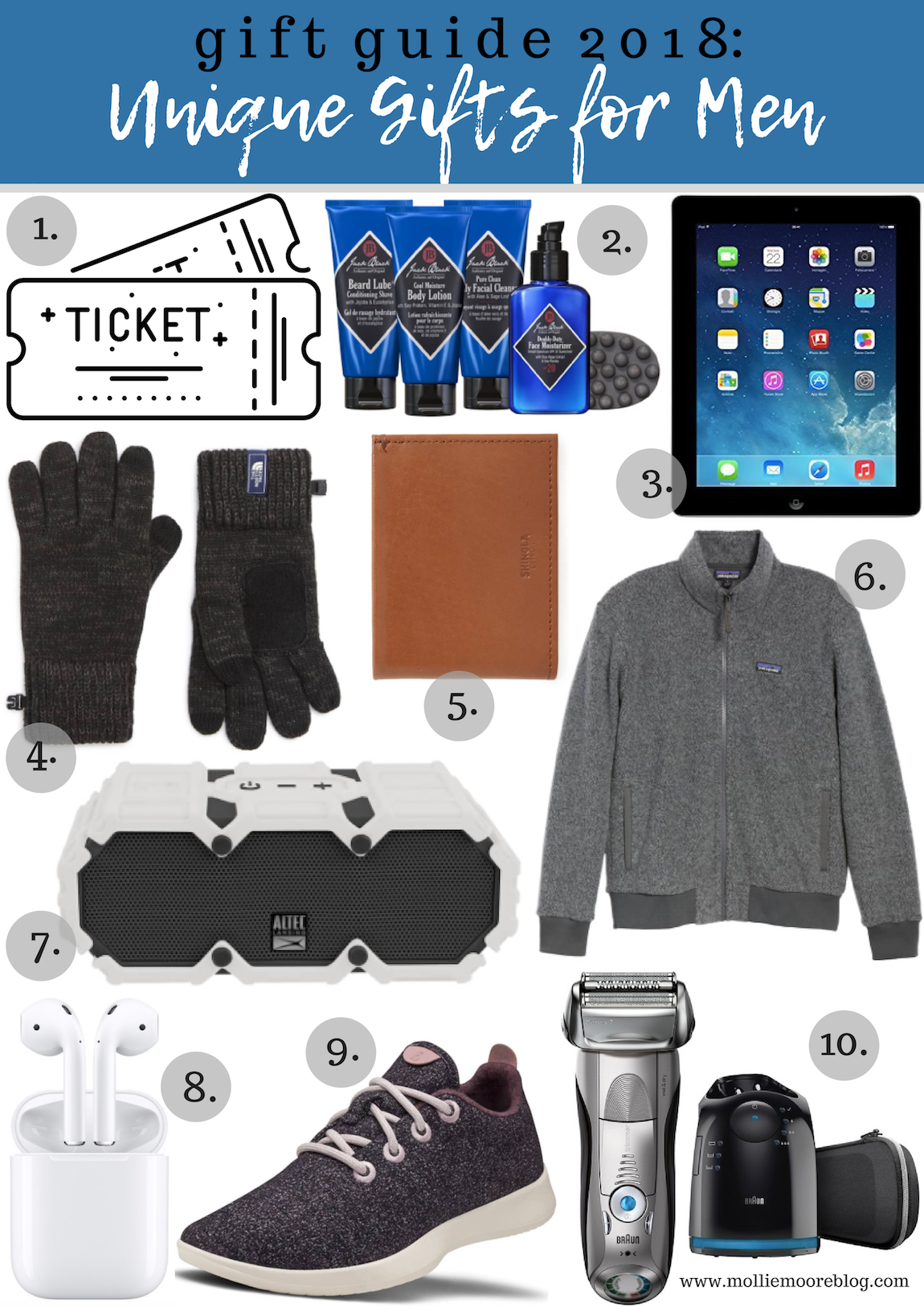 Lifestyle blogger Mollie Moore shares her top 10 unique gift ideas for men