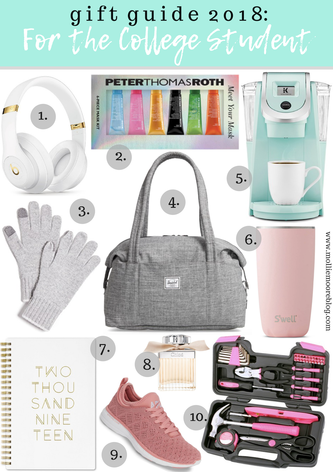 Lifestyle blogger Mollie Moore shares her top 10 gift ideas for college students