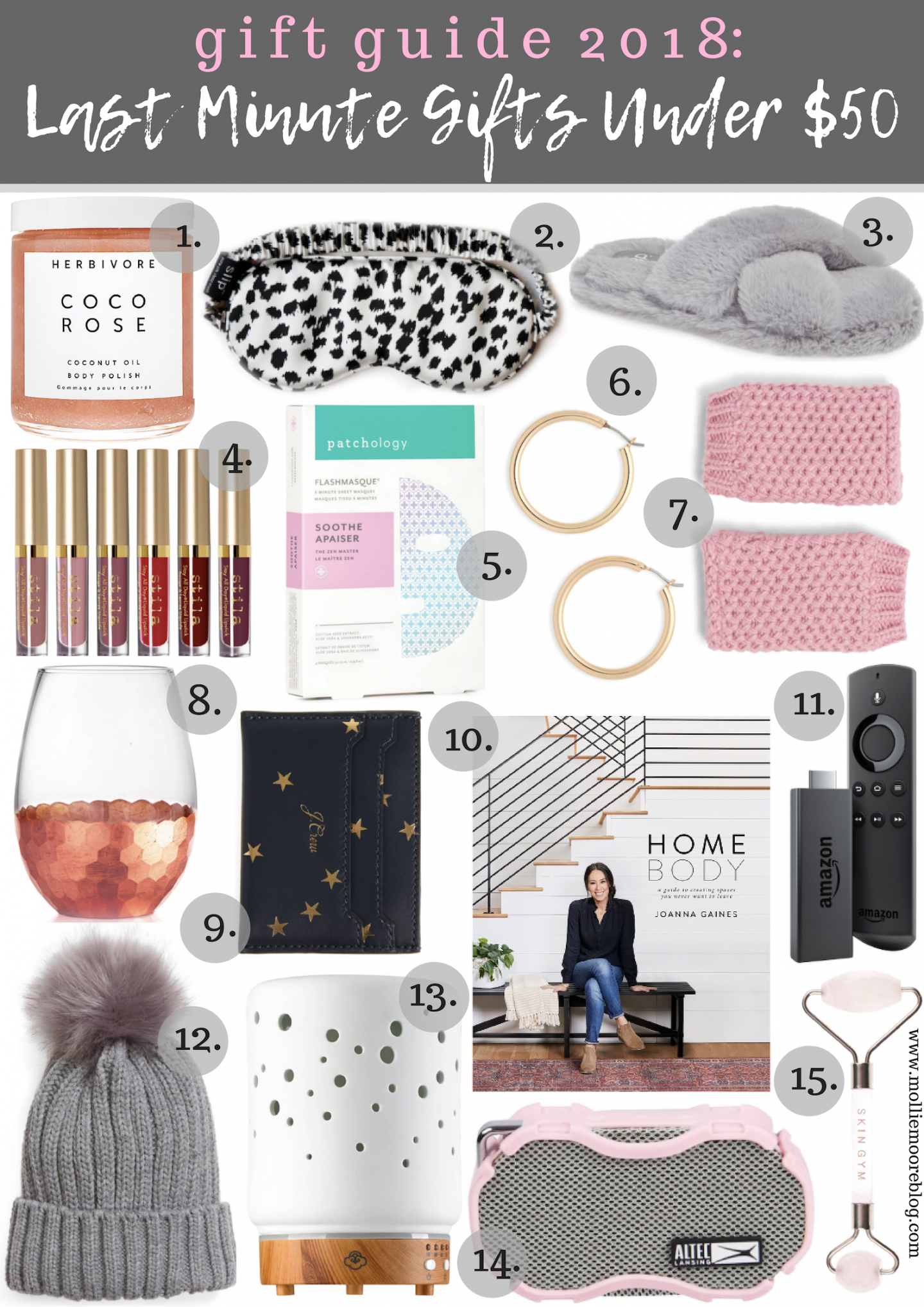 Lifestyle blogger Mollie Moores shares her top last minute gift ideas under $50