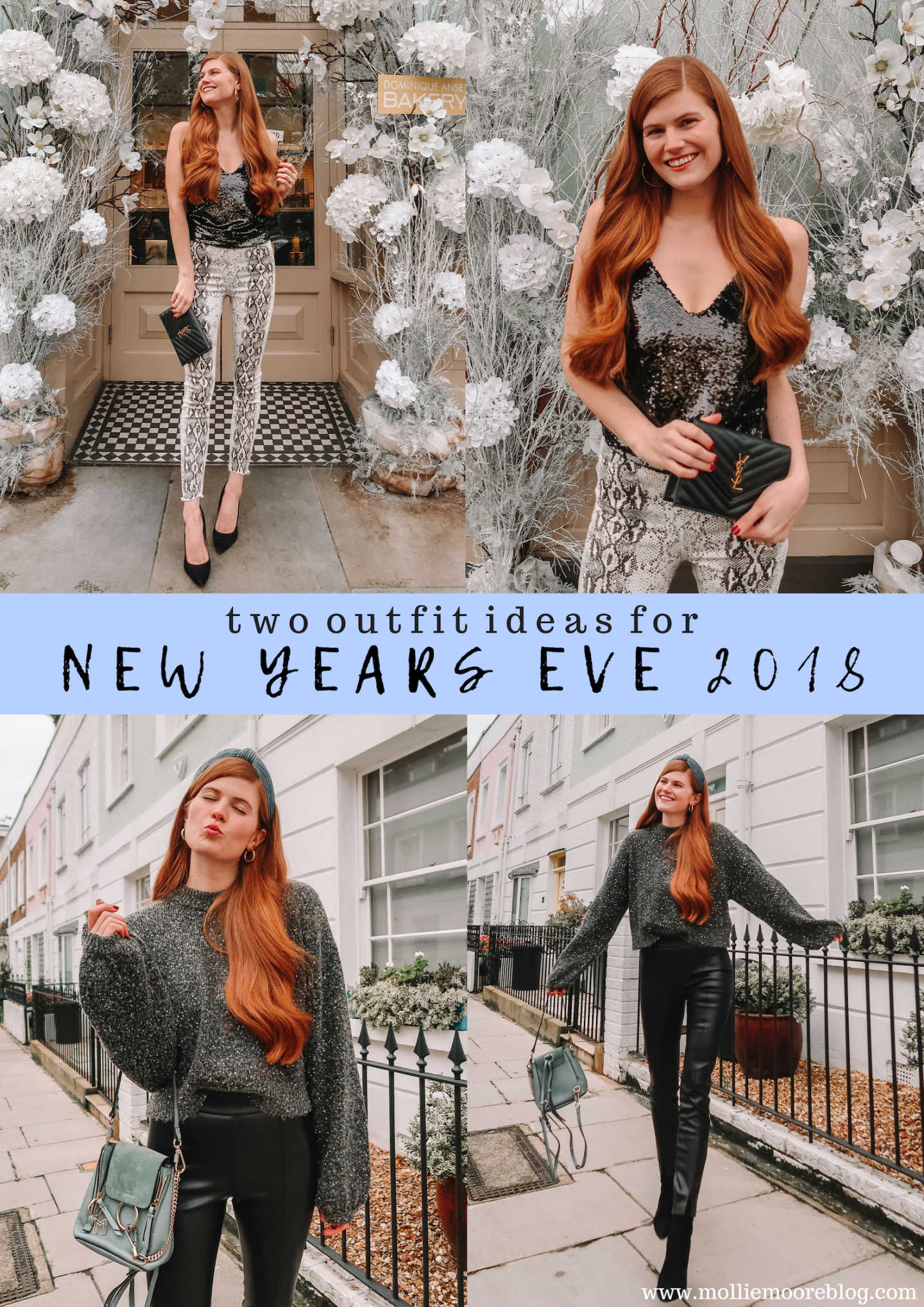 Lifestyle blogger Mollie Moore shares two different NYE outfit ideas