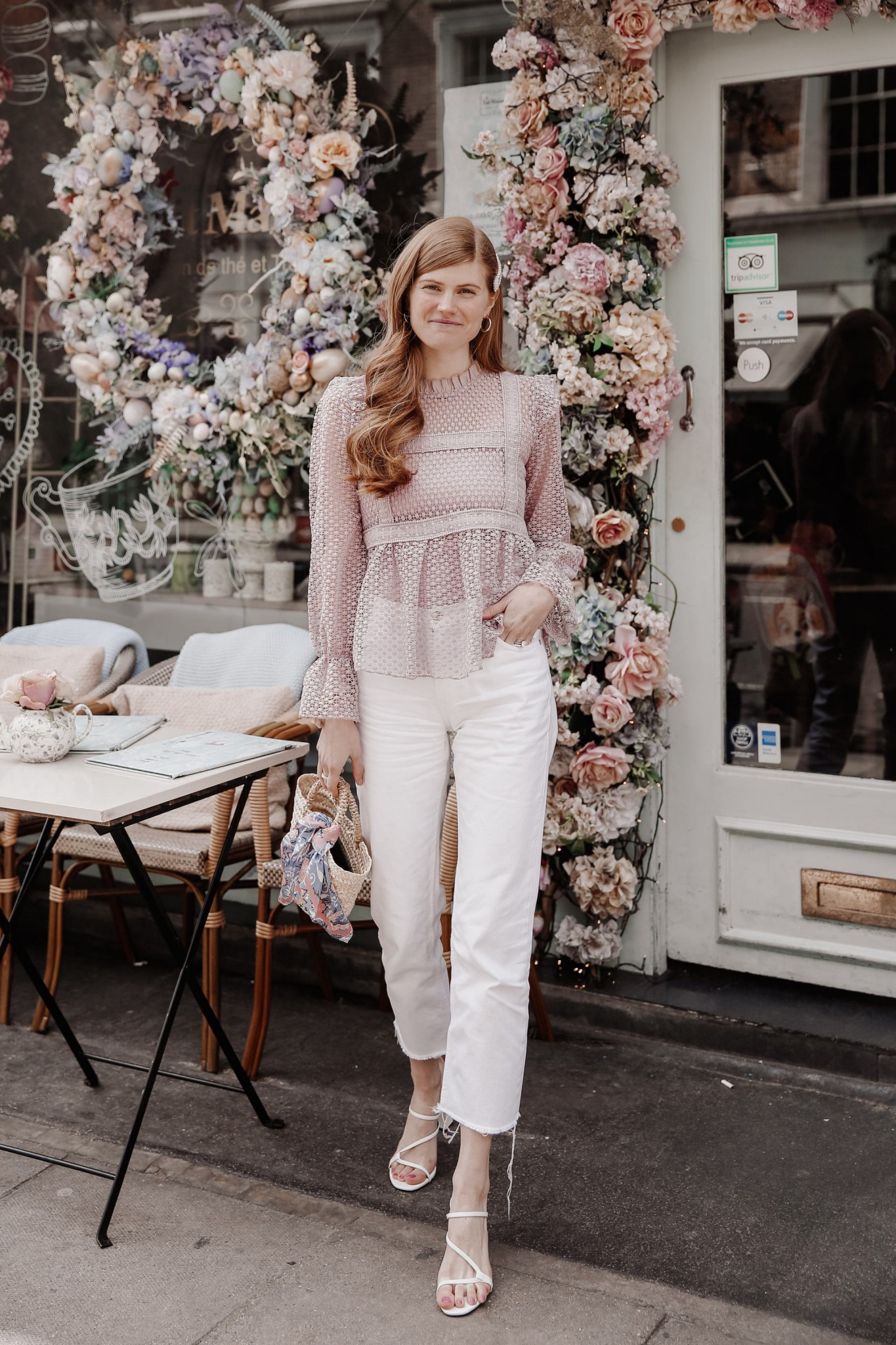 Instagram Spots in London featured by top London blogger Mollie Moore; Image of a woman wearing CHICWISH TOP, MANGO WHITE JEANS, ZARA STRAPPY SANDALS and ZARA PEARL HAIR CLIP.