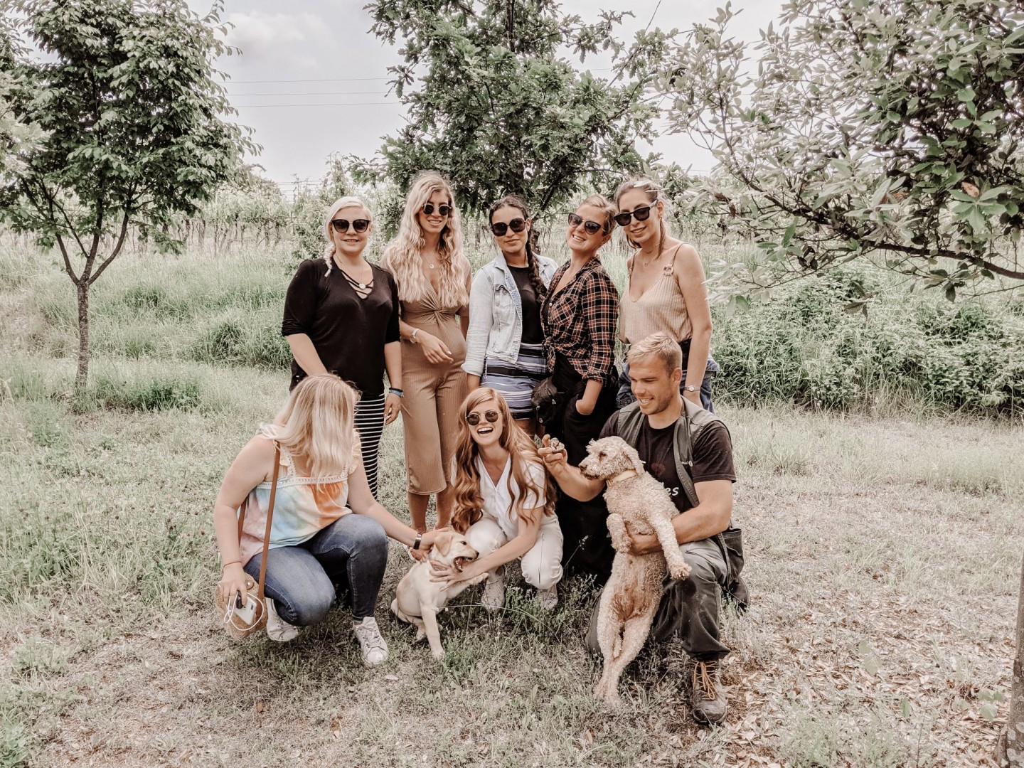 Lifestyle blogger Mollie Moore shares an Istria, Croatia travel guide. | Istria, Croatia Travel guide by popular London fashion and travel blogger Mollie Moore: image of 7 women, one man and two dogs standing together in an orchard in Istria, Croatia.